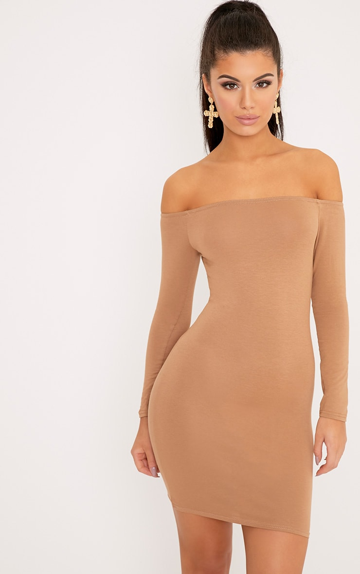 Basic Camel Bardot Bodycon Dress 1