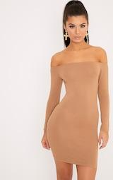 Basic Camel Bardot Bodycon Dress 1
