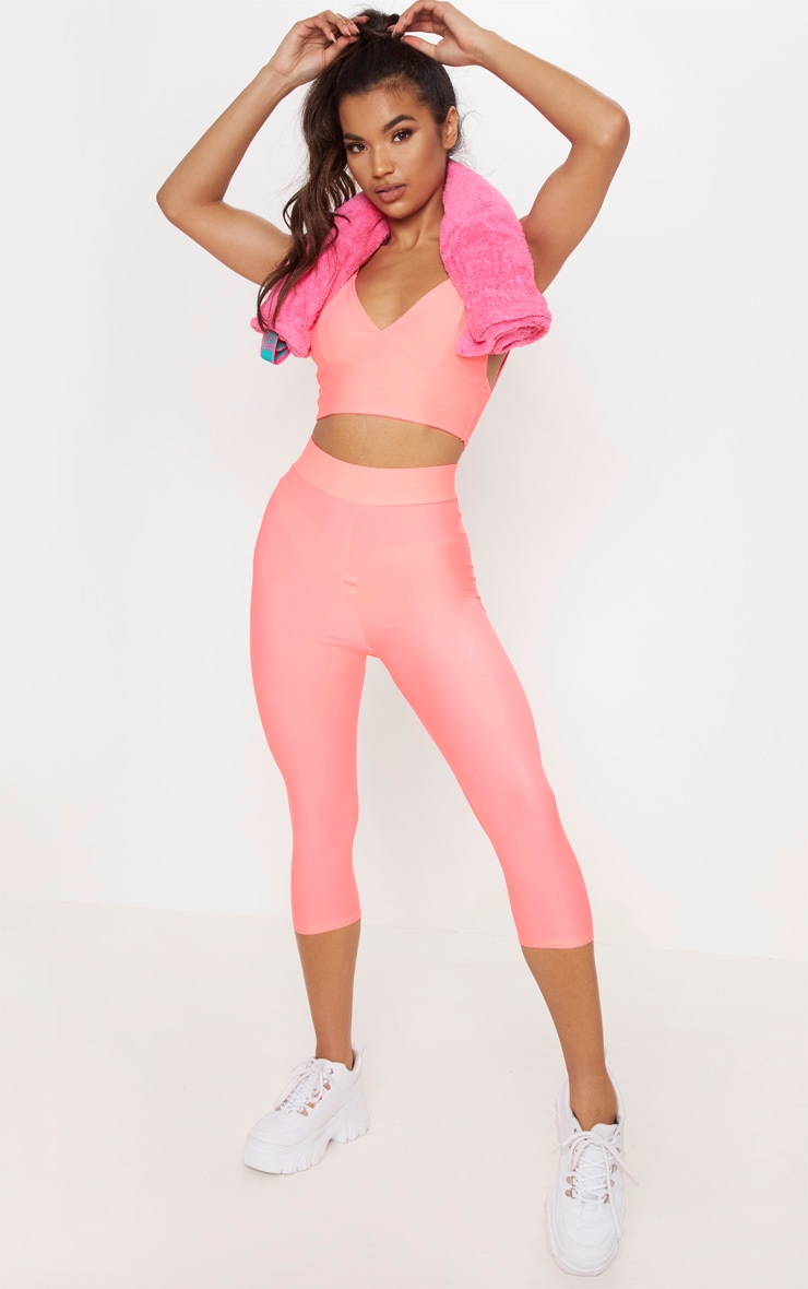 Pink Basic Cropped Gym Legging 1