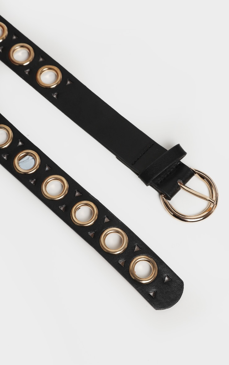 Black PU Gold Eyelet Skinny Belt 3