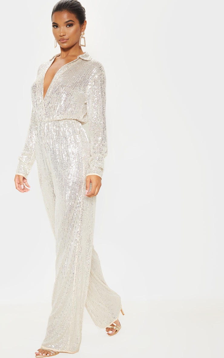 Silver Sequin Collar Detail Long Sleeve Jumpsuit 4