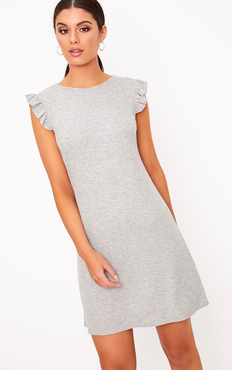 Grey Marl Jersey Sleeveless Frill Sleeve Shift Dress  1