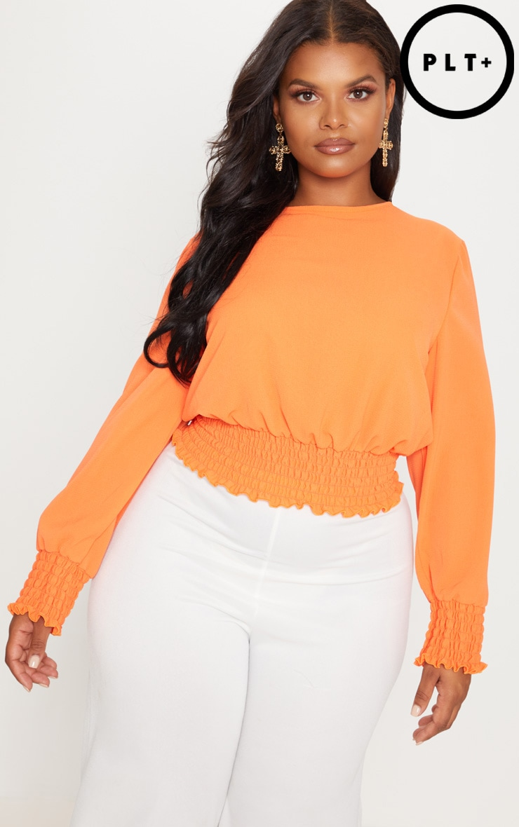 Plus Orange Shirred Detail Cropped Blouse