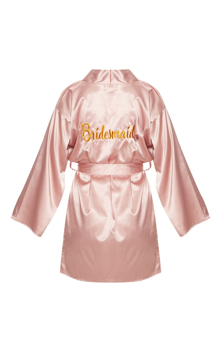 Pale Pink Bridesmaid Embroidered Back Satin Robe 4