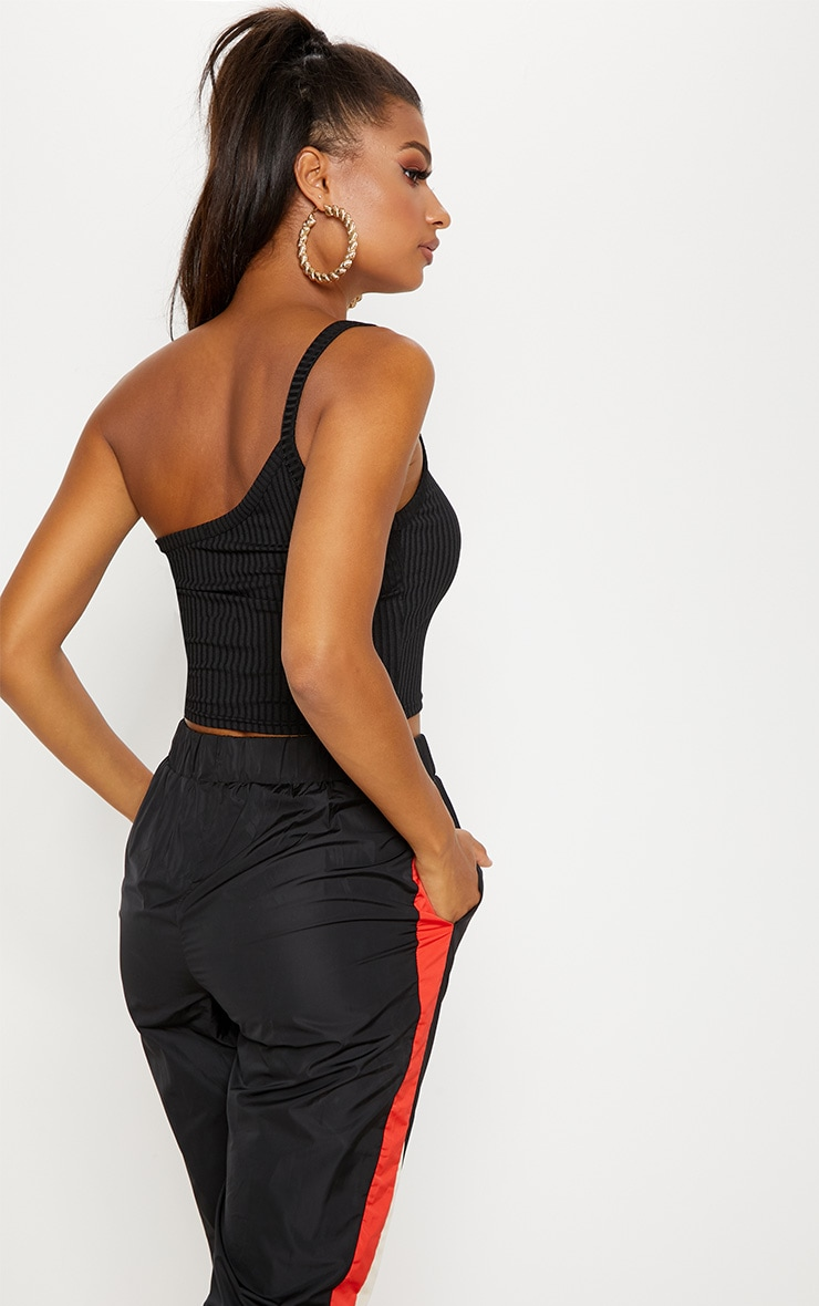 Black One Shoulder Ribbed Crop Top 2