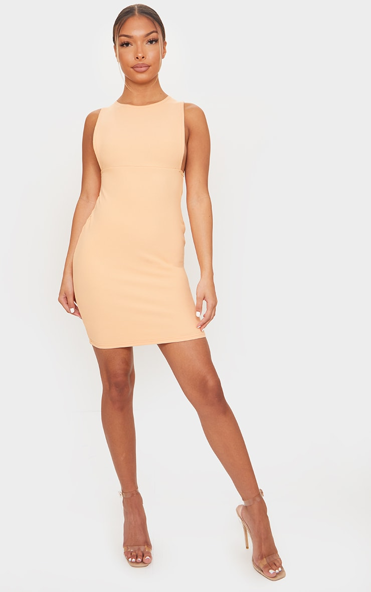 Peach Bandage Rib Crew Neck Low Armhole Bodycon Dress 3