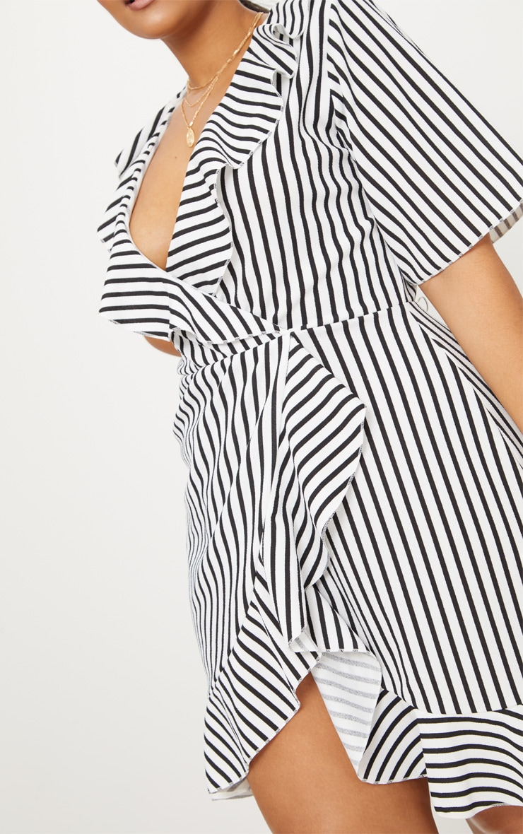 Plus White Striped Frill Detail Wrap Dress 5