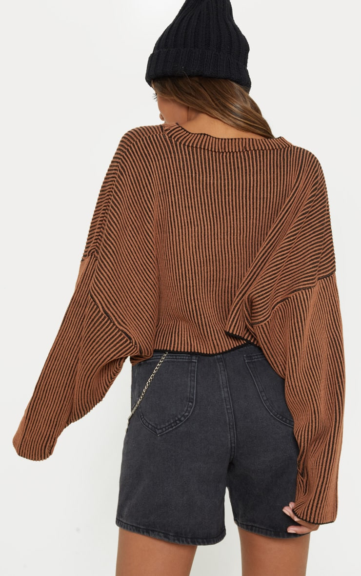Brown Two Tone Knit Batwing Cropped Sweater  2