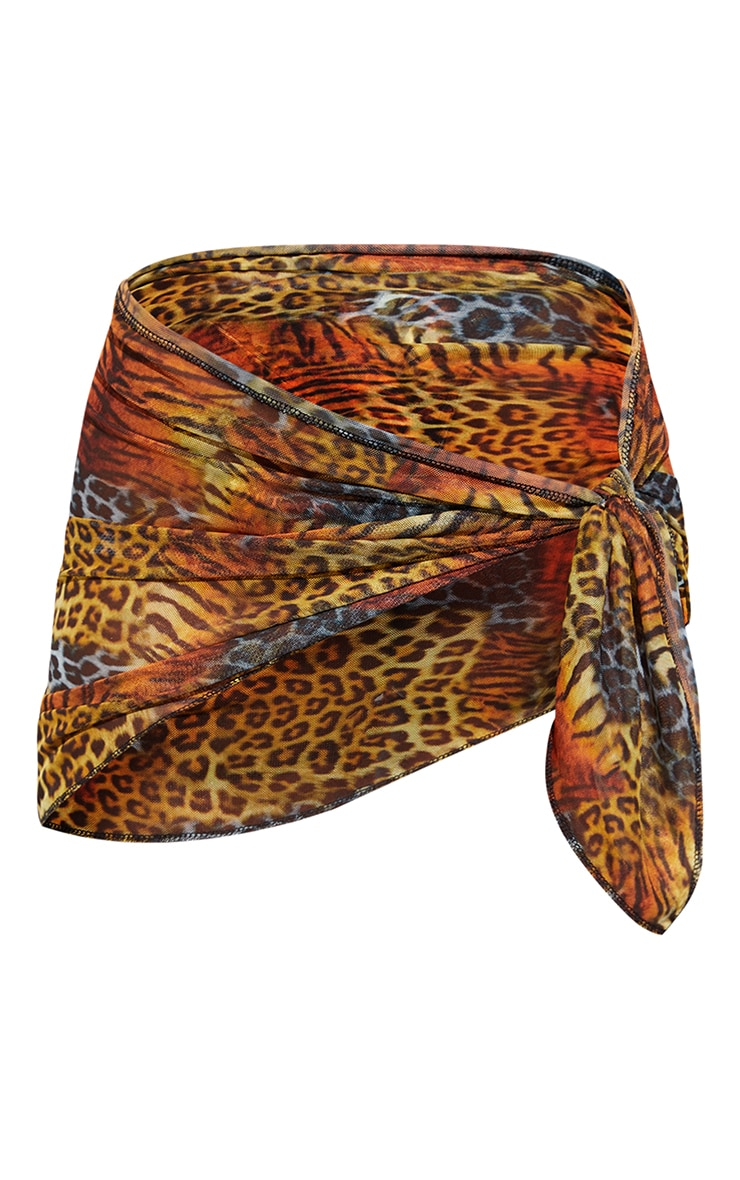 Multi Animal Mesh Tie Side Sarong 6