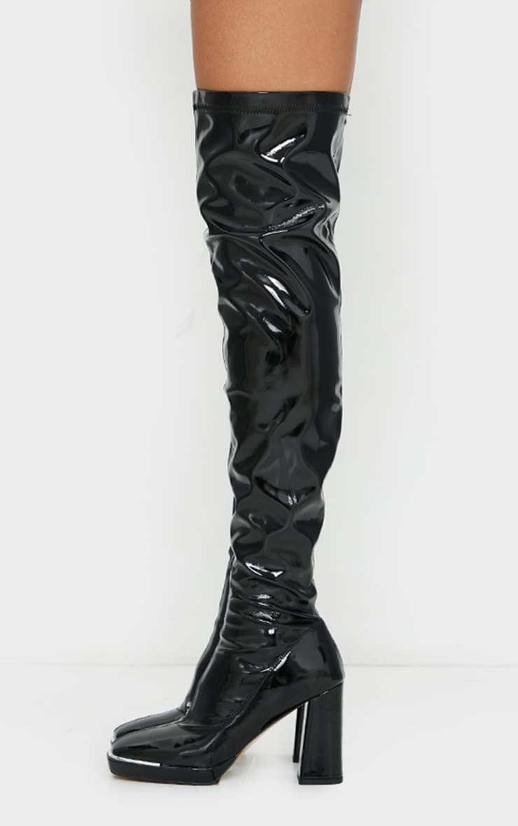 Black Patent Square Toe Cap Mid Over Knee Heeled Boots 3