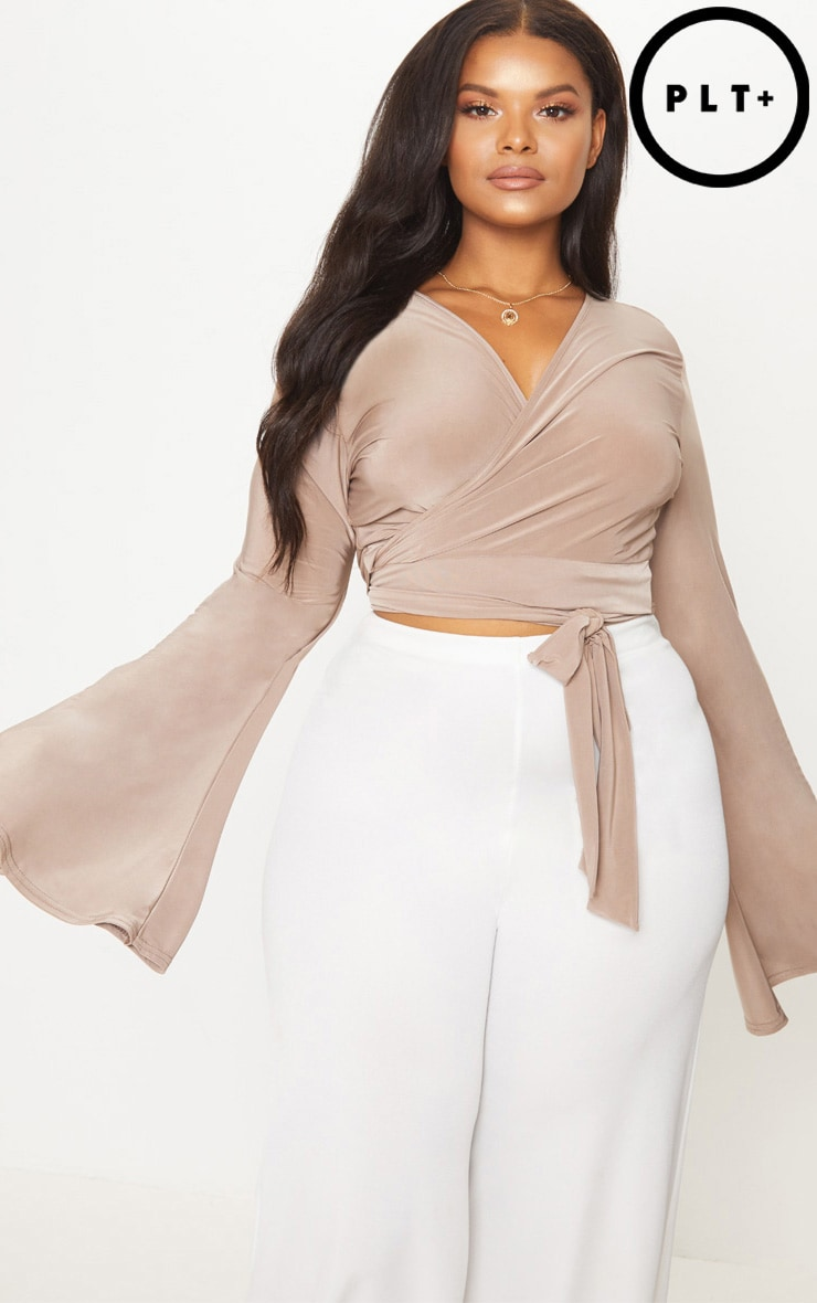 Plus Mocha Slinky Wrap Waist Crop Top 1