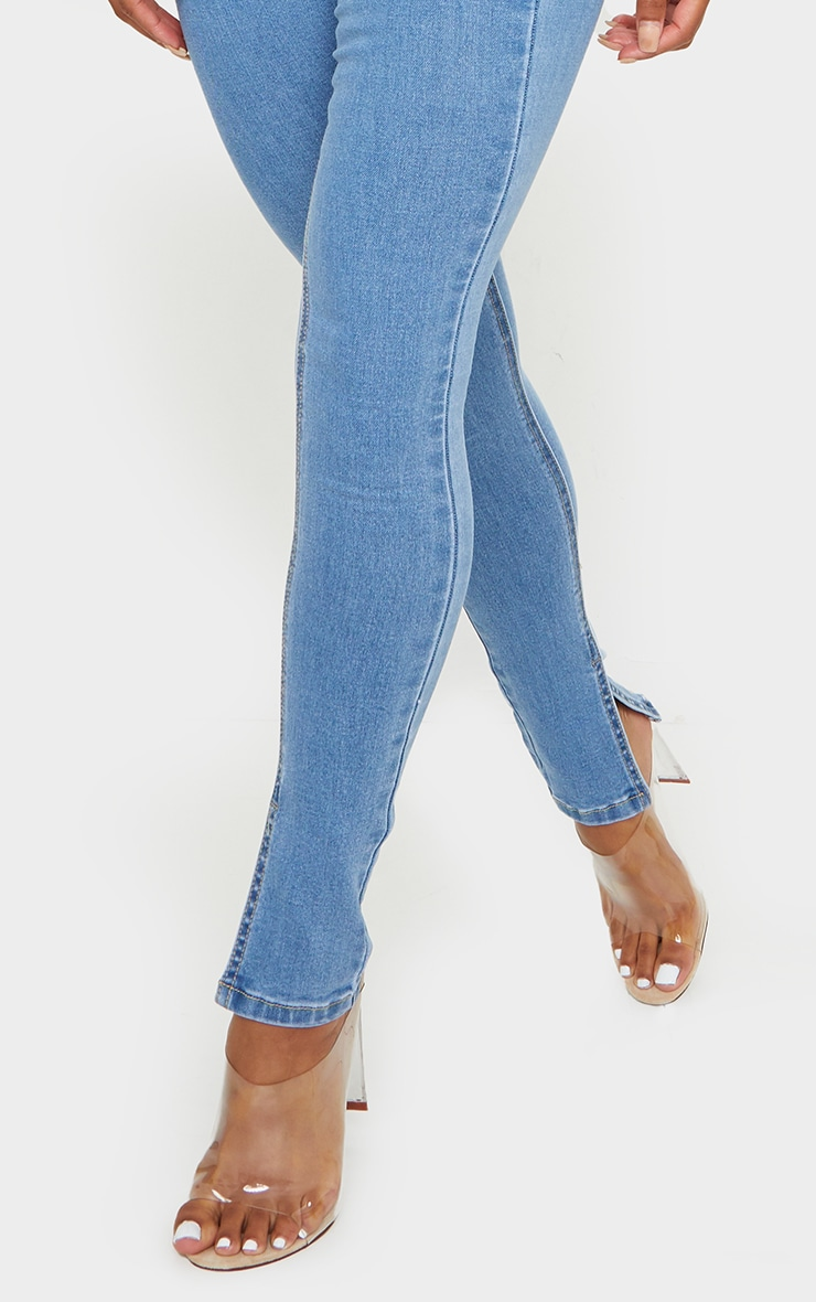 Light Blue Wash Side Split Hem Skinny Jeans 4