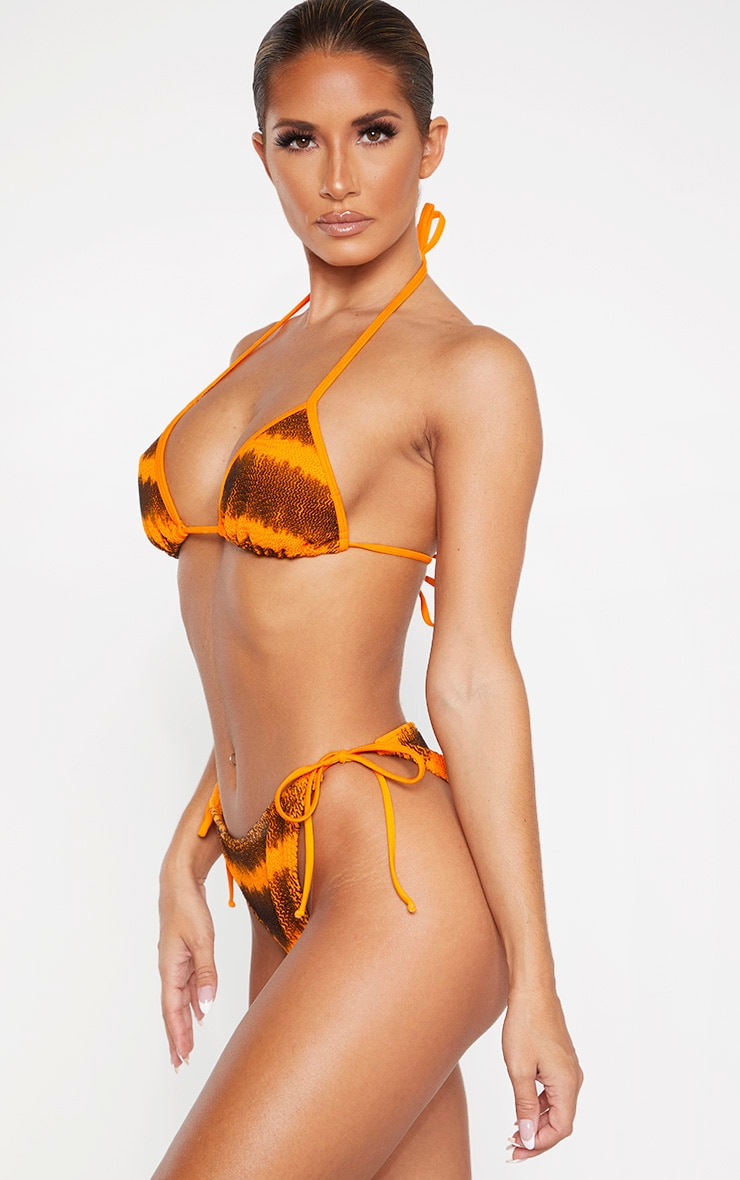 Orange Tie Dye Crinkle Tie Side Bikini Bottom 2