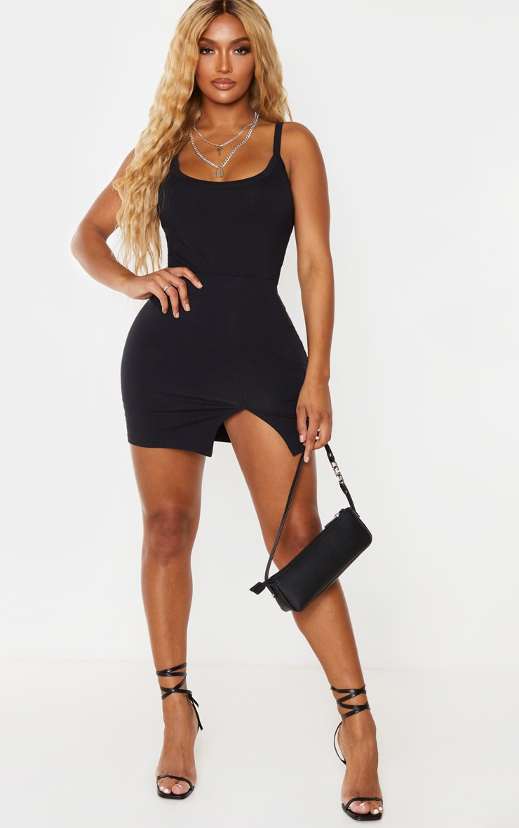 Shape Black Cotton Binded Strappy Bodysuit 3
