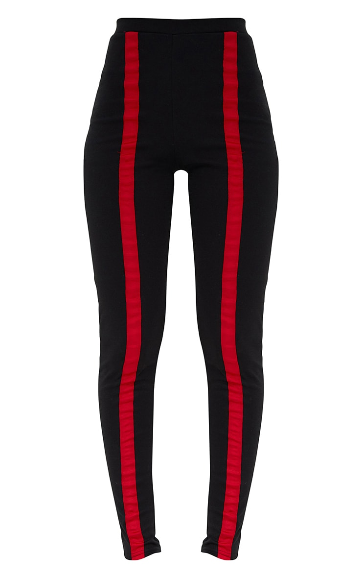 Black Contrast Stripe Track Leggings 3