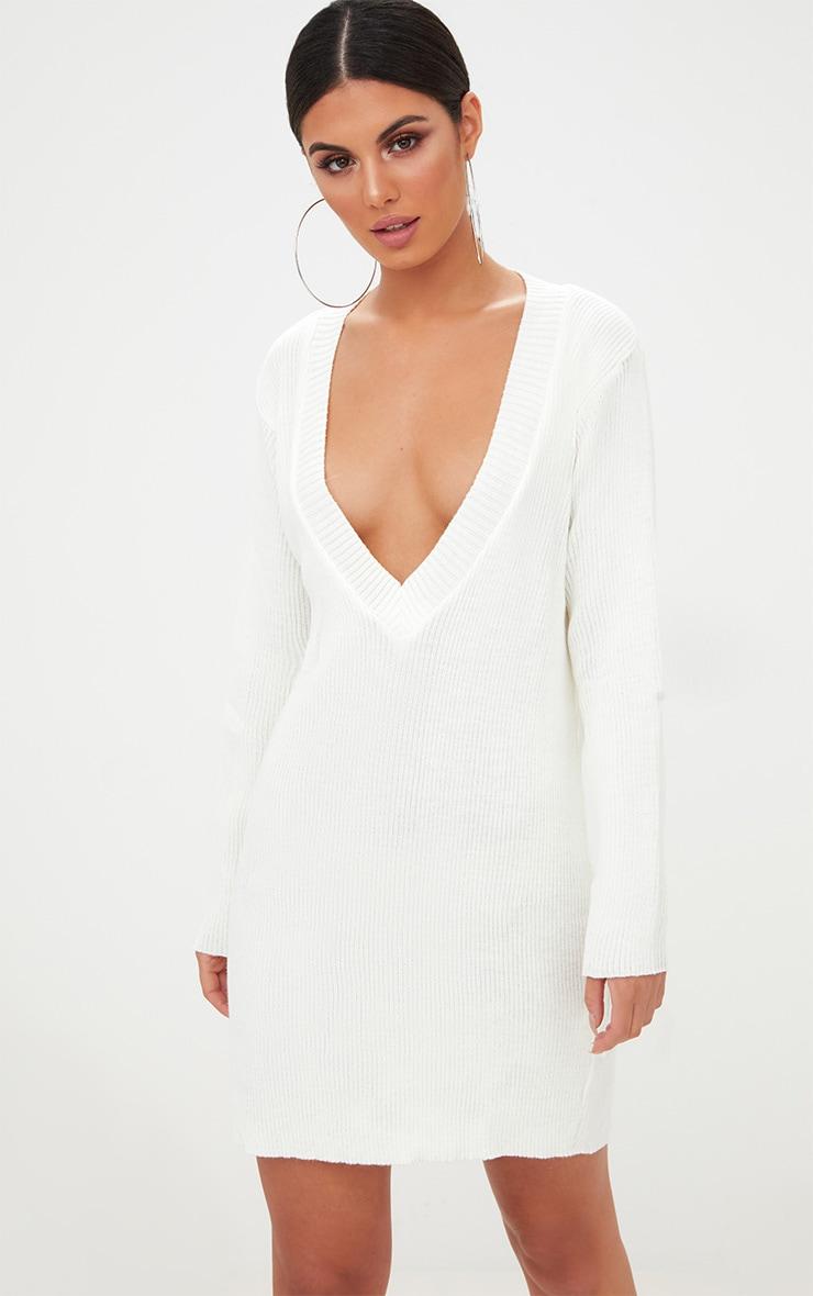be1a590b3be9 Cream V Neck Sweater Dress image 1