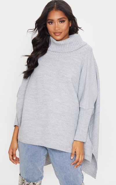 Grey Oversized Slouchy Knitted Jumper