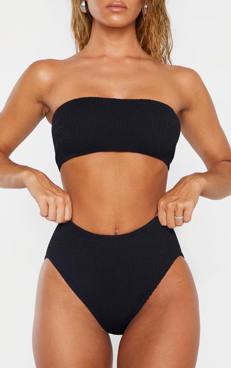 Bas de bikini noir froncé à taille haute 1