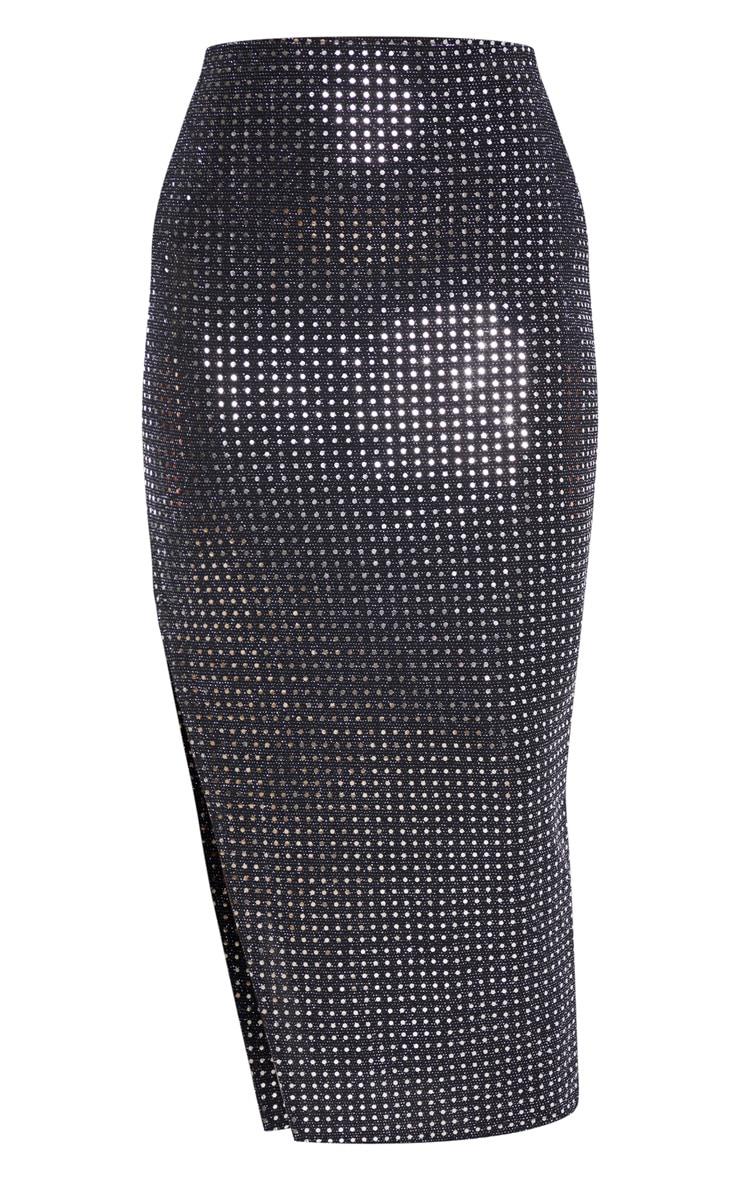 Tall Black Sequin Split Side Skirt  3
