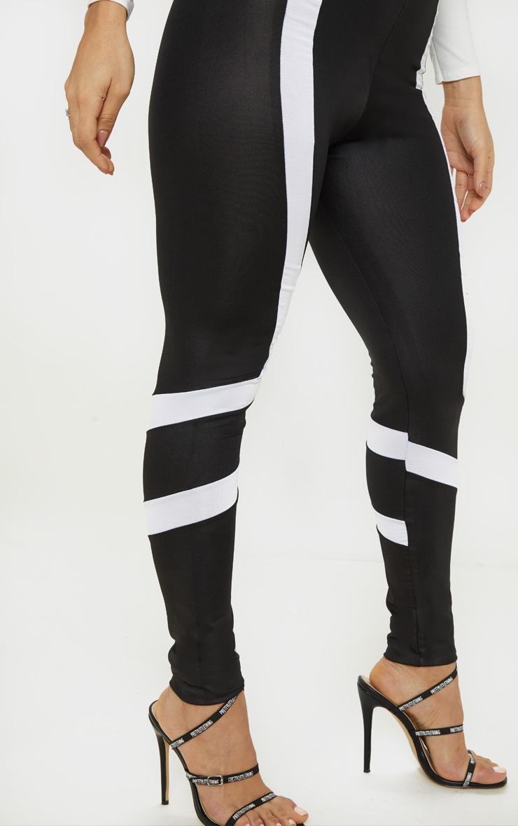 Black Wet Look Contrast Panel Legging 5