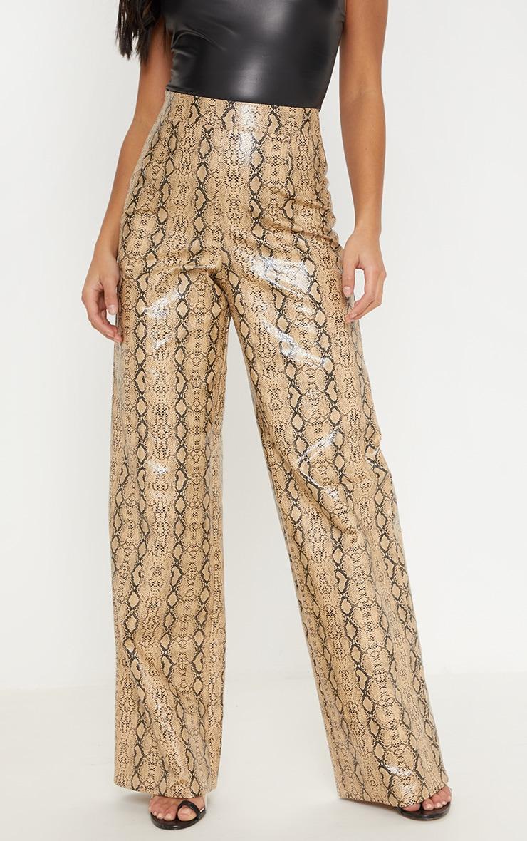Petite Taupe PU Snake Print Wide Leg Pants 2