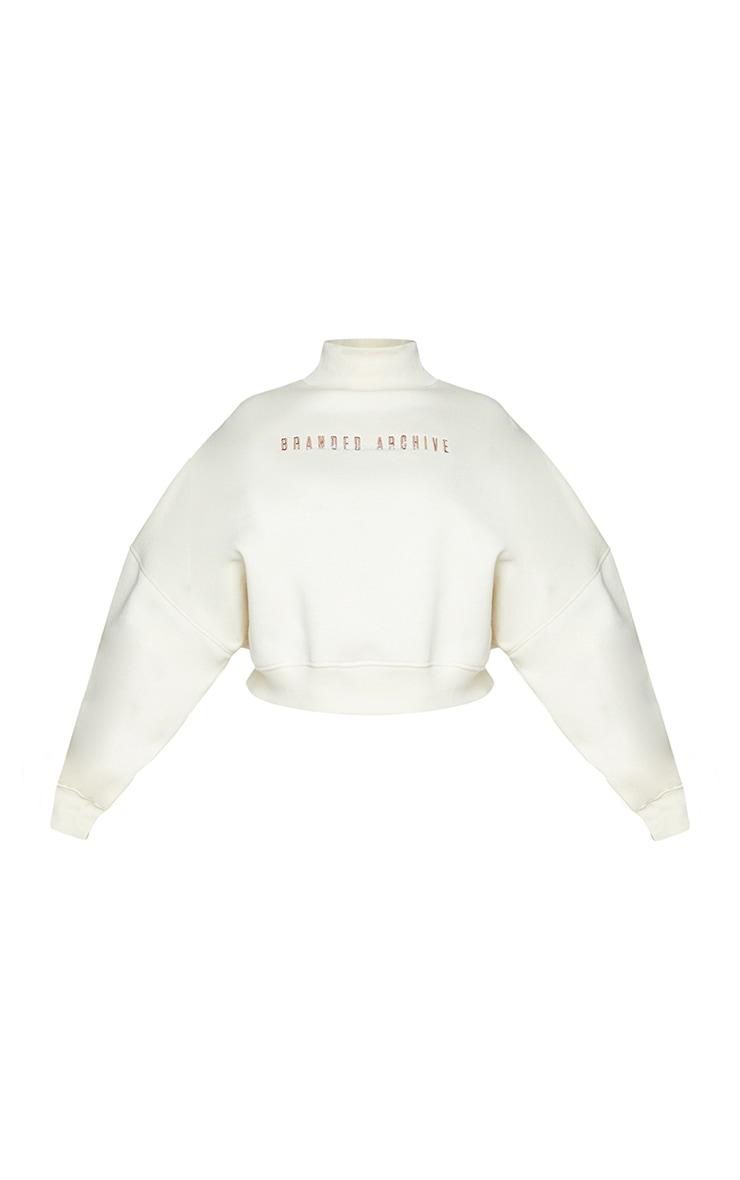 Plus Oatmeal  High Neck Crop Sweater 6