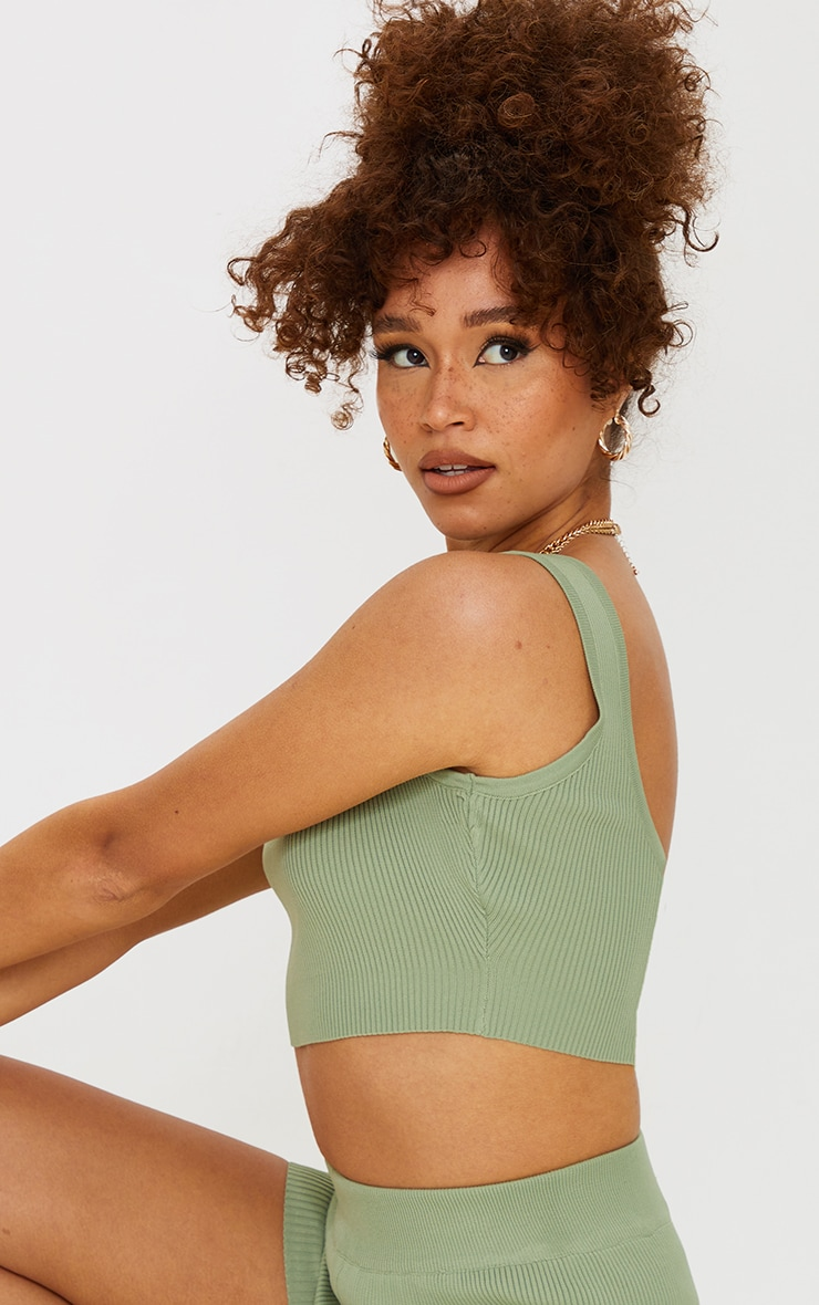 Sage Green Ribbed Scoop Back Knitted Top 4