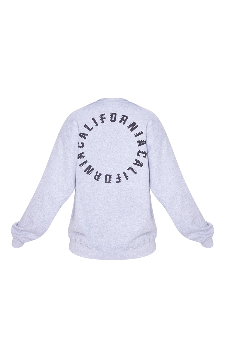 Grey California Slogan Oversized Sweater 6