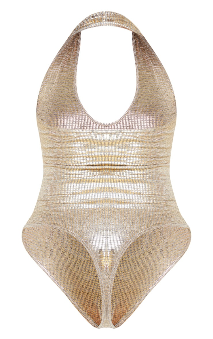 Gold Metallic Halterneck Bodysuit 6