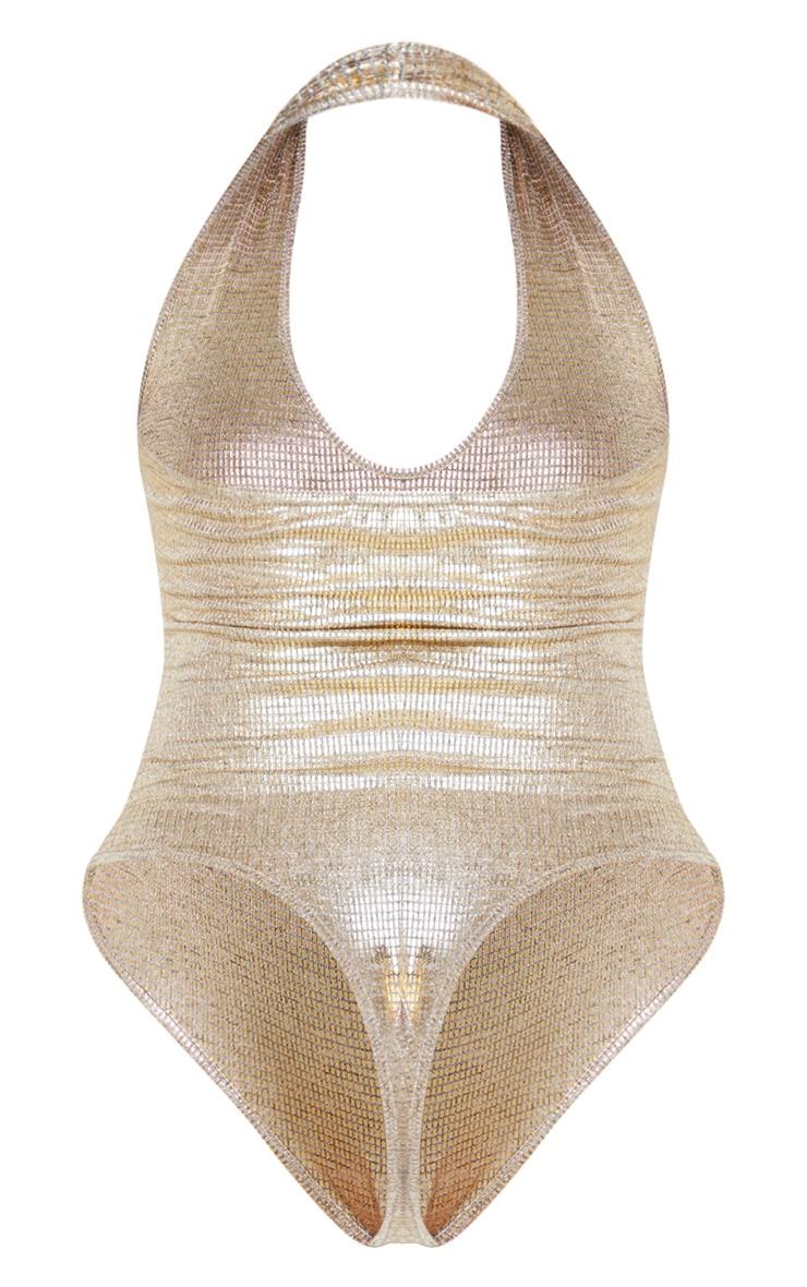 Gold Metallic Halterneck Bodysuit  6