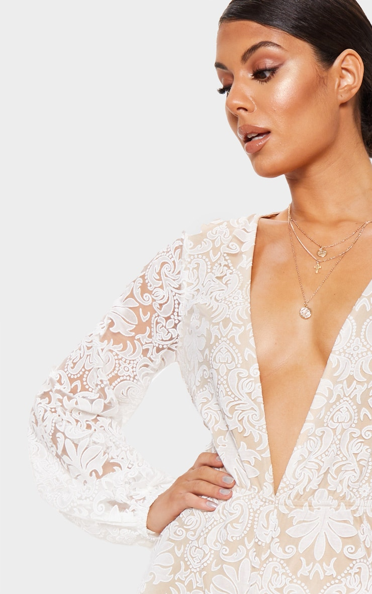 White Sheer Paisley Long Sleeve Jumpsuit 5