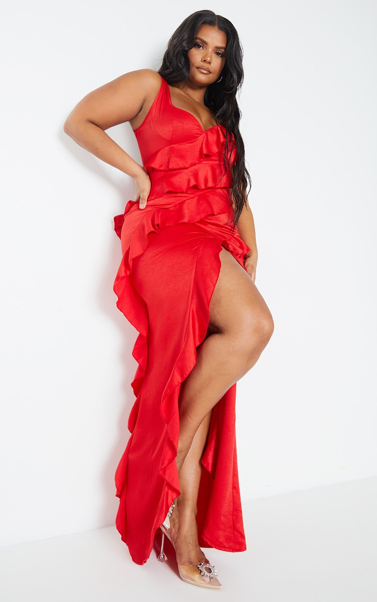 Plus Red Satin Frill Layered Midiaxi Dress 1