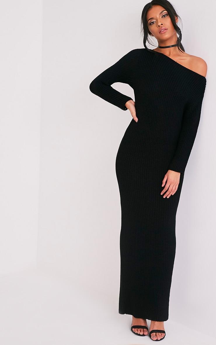 Adalynn robe pull maxi à épaules dénudées noire 5