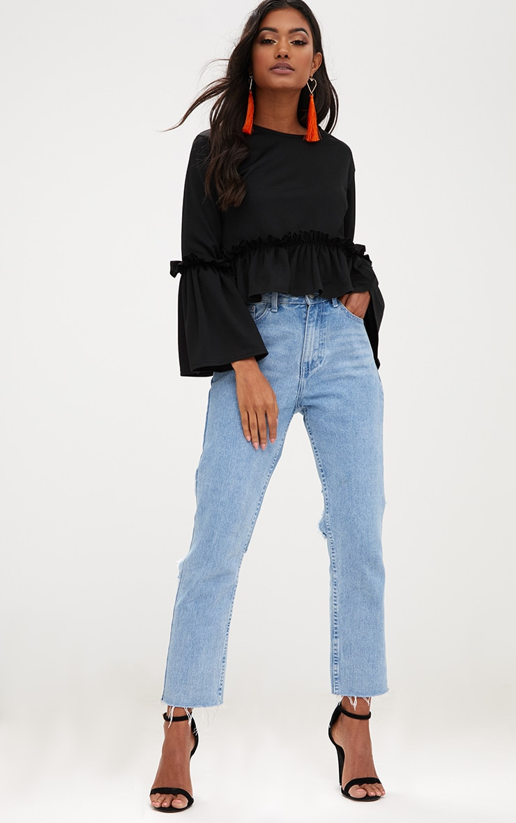 Black Frill Sleeve Top 3