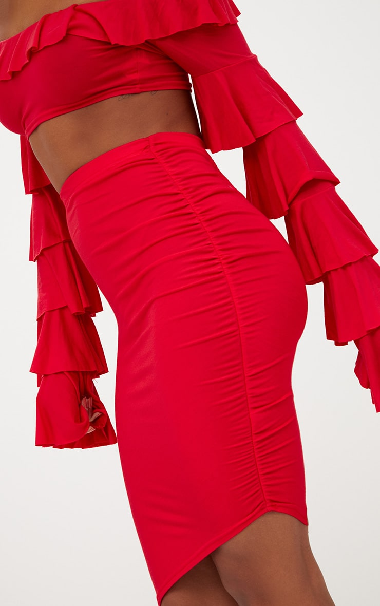 Red Ruched Side Asymmetric Midi Skirt  6