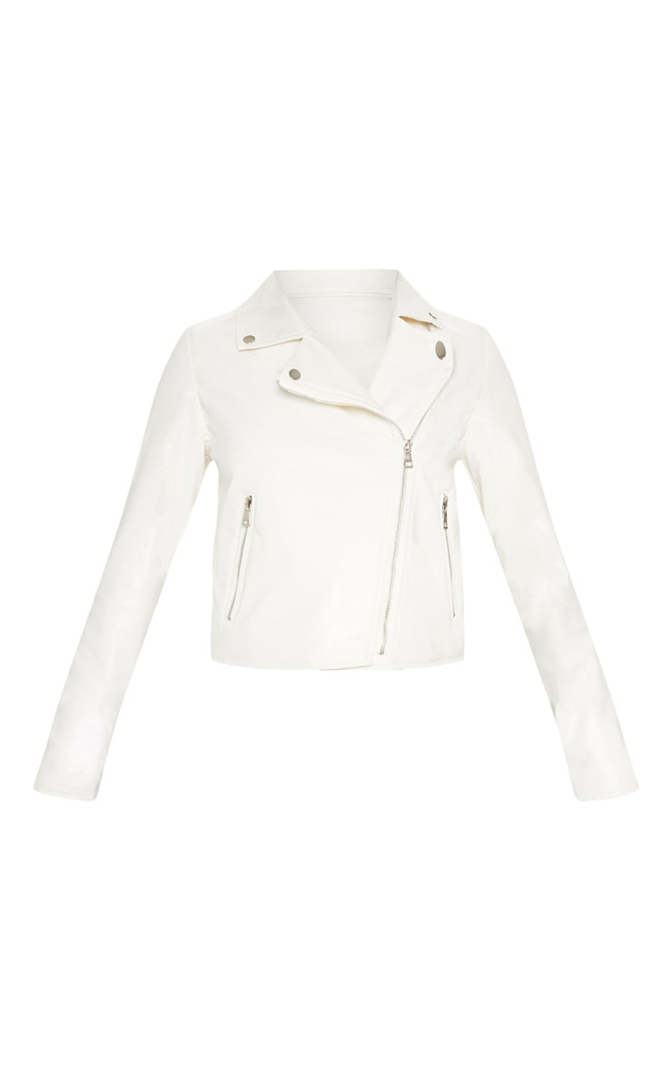 White PU Biker Jacket 3
