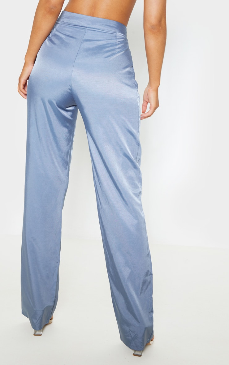 Grey Woven Pleat Detail Straight Leg Pants 4