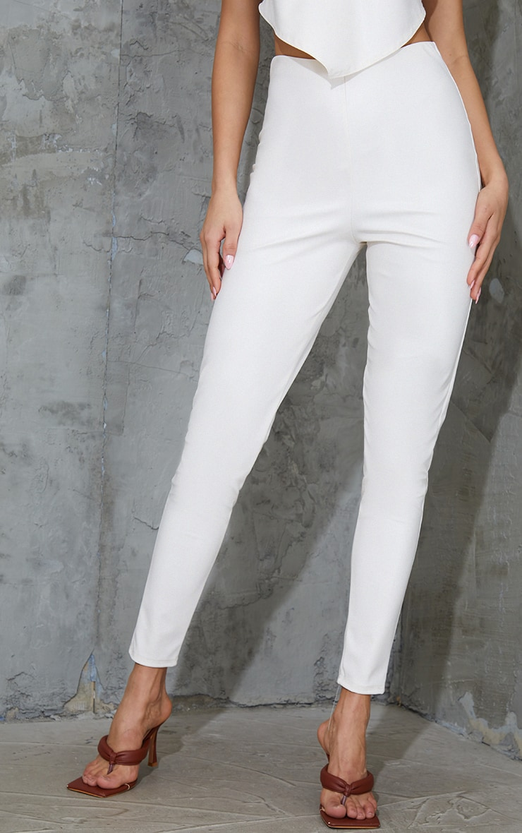 Cream Basic Faux Leather High Waist Leggings 2