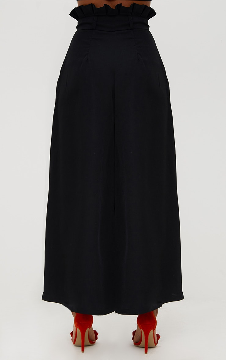 Black Wide Leg Paperbag Trousers 4