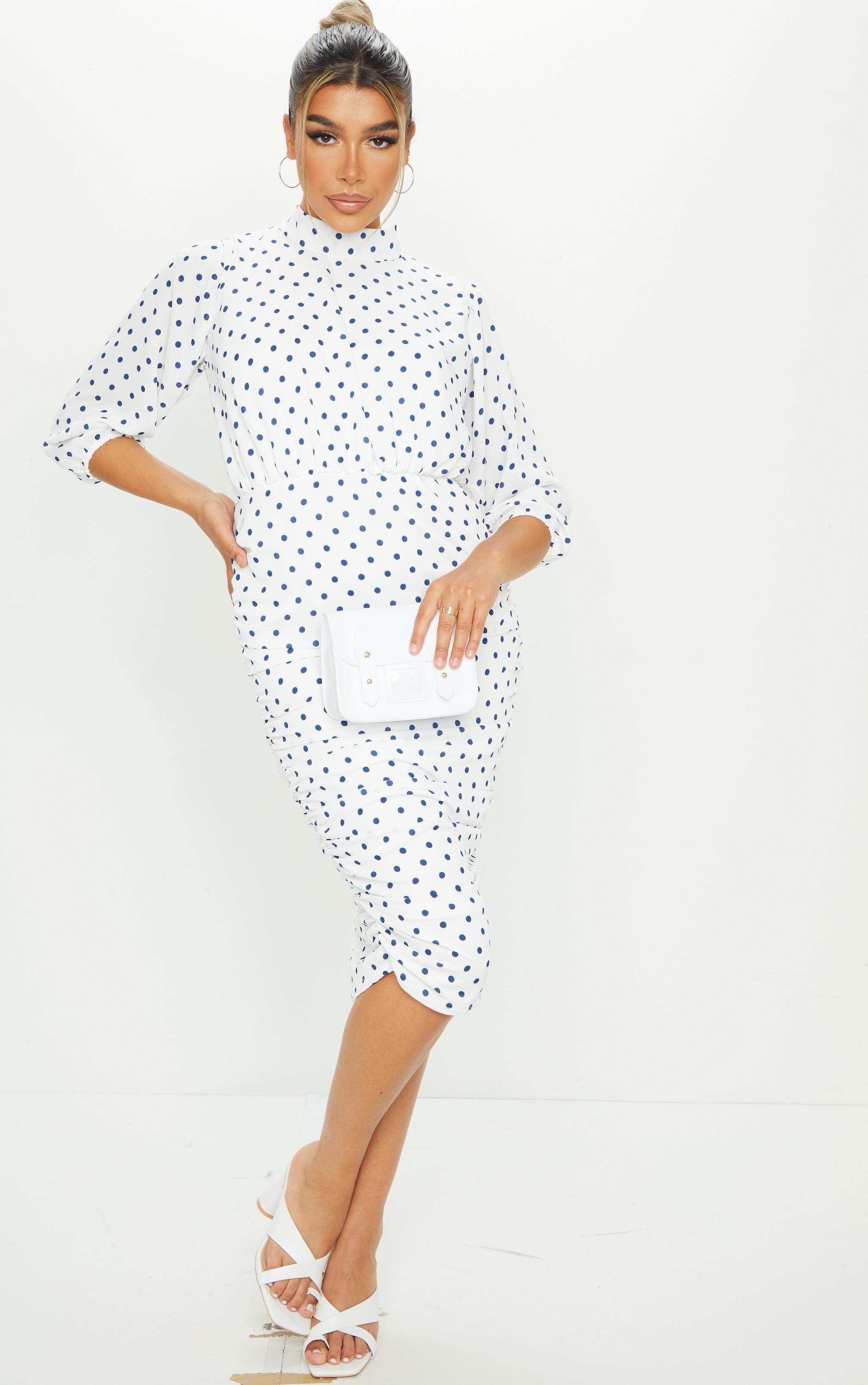 White Polka Dot Chiffon High Neck Ruched Midi Dress 1