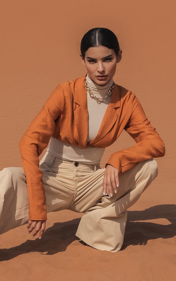 Burnt Orange Woven Twist Front Long Sleeve Crop Shirt 3