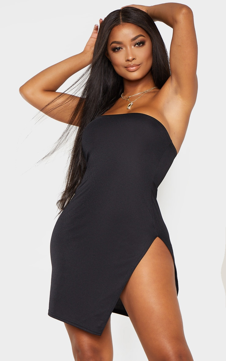 Shape Black Bandeau Split Bodycon Dress 1