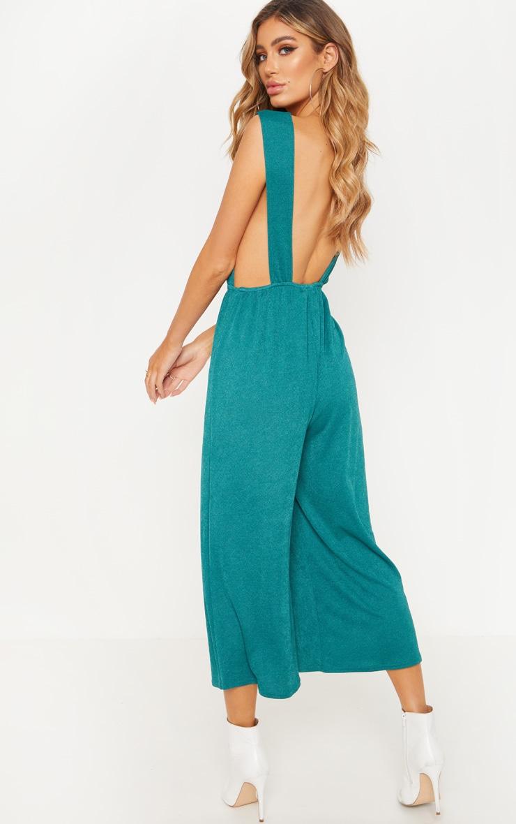 Emerald Green V Strap Culotte Jumpsuit 2