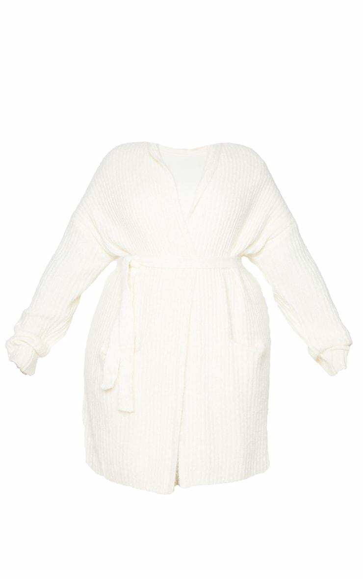 Plus Cream Ribbed Eyelash Knit Belted Cardigan 5