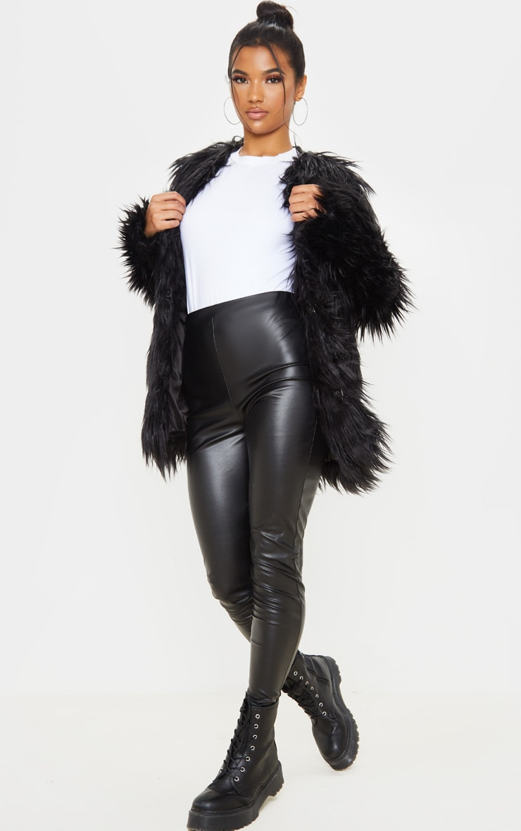 Amaria Black Shaggy Faux Fur Jacket 4