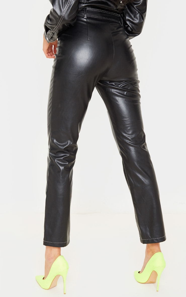 Pantalon droit en similicuir noir profond à coutures contrastantes 4
