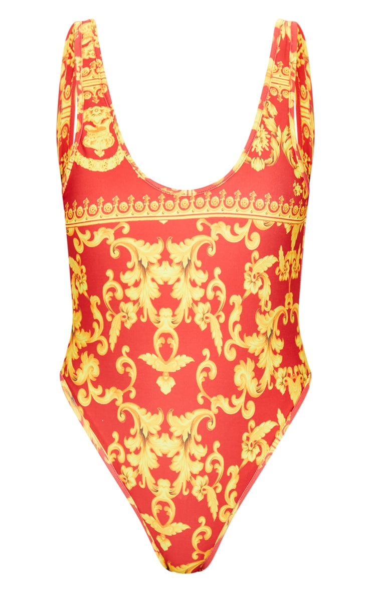 Red Chain Print Low Back Swimsuit 3