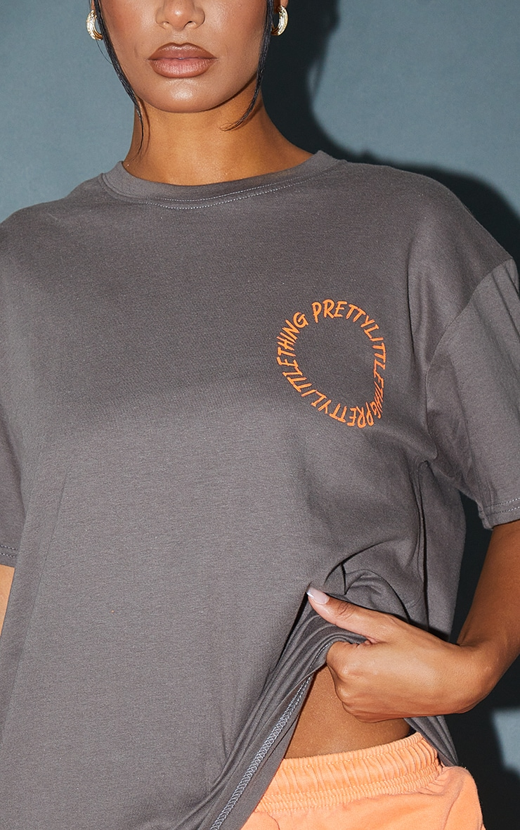 PRETTYLITTLETHING Charocal  Circle Back Printed T Shirt 4
