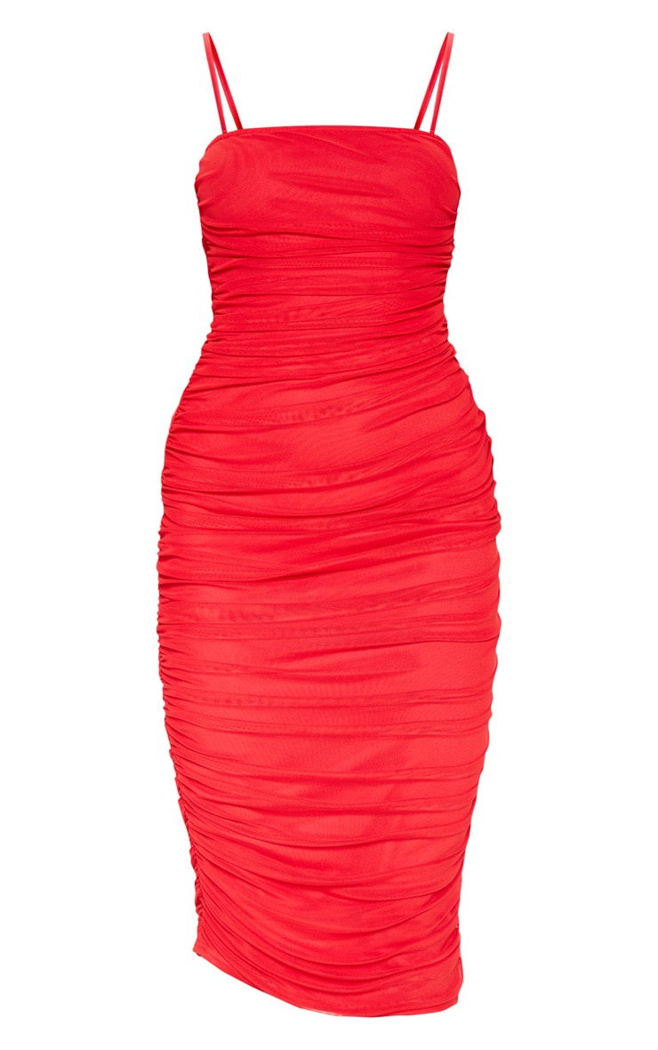 Red Strappy Mesh Ruched Midaxi Dress 3
