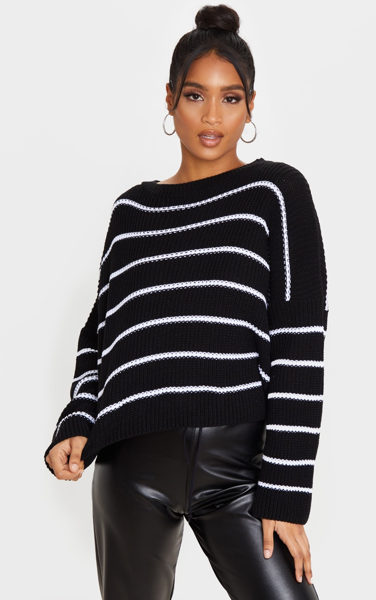 Black  Narrow Stripe Knitted Sweater 1